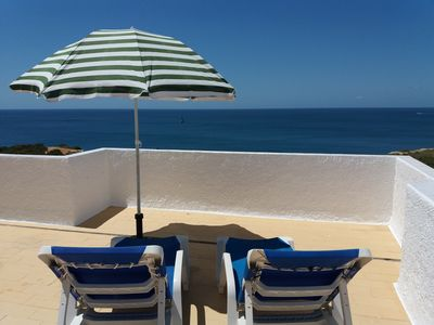 Photo for fantastic sea view, 3 min to the beach, priv. Roof terrace, wifi free, barbecue
