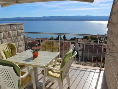 Photo for One bedroom apartment with terrace and sea view Duće, Omiš (A-2737-b)