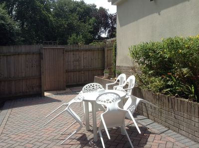 Secluded block paved rear garden
