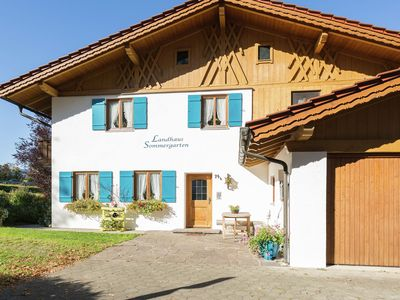Photo for Flat with balcony in the Ammergau Alps - garden, outdoor seating, direct access to lake