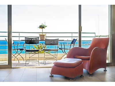 Photo for CANNES - ON LA CROISETTE - PANORAMIC 180 DEGREES VIEW ON THE SEA AND THE BEACH