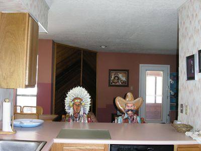 The Chief and the Cowboy greet you at the eat-in kitchen.