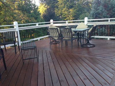 Large 2nd floor deck. Overlooks backyard. Access from master bath.
