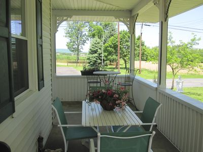 Enjoy eating out on the porch.
