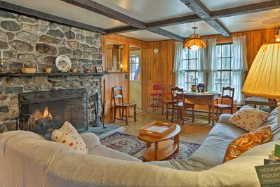 Sit around the roaring fire in this 2-bedroom, 1-bathroom vacation rental cabin.