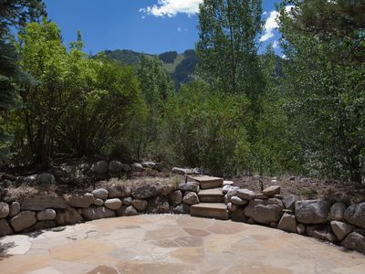 Spectacular view of Aspen mountain looking out over the patio.