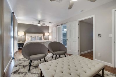You won't want to get up too early! Enjoy the comfortable pillows on the Kind size bed in the master bedroom