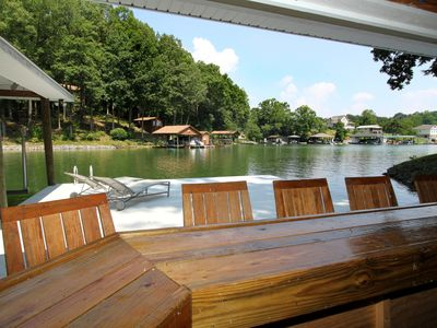 Photo for Lakefront, huge dock, Pool table, Ping pong, WiFi, Fireplace