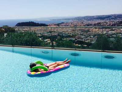 Photo for Luxurious 3 bed apartment with pool close to Villefranche and Nice