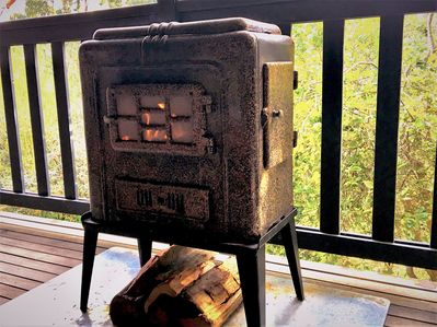 Outdoor Warmray wood heater - great for toasting marshmallows