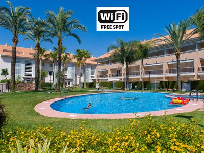 Photo for Javea Golden Gardens Arenal - Ground floor Apt, airco, Wi-Fi, pools and terraces