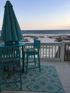 Back deck overlooking pool and gulf