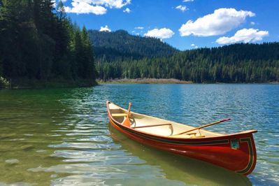 Paddle across Spoon Lake to this inviting swimming hole