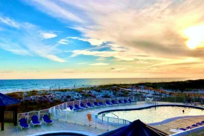 Gulf View from Upper viewing deck steps from #130 unit. Picnic tables & Chairs.