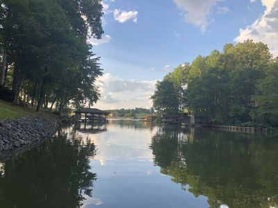 Photo for Waterfront retreat w/private dock, hot tub, fire pit, kayaks