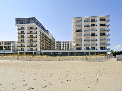 Photo for LINENS & DAILY ACTIVITIES INCLUDED!  OCEANFRONT/BOARDWALK BUILDING W/ROOFTOP POOL Updated kitchen, tile floors and carpeting await you in this unit with outstanding ocean views from every room