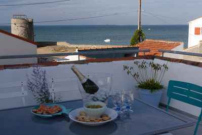 Roof terrace with view to Le Continent..perfect for the evening aperitif.