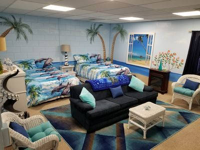 Beach Room! My Fav! Two full sized beds and a couch