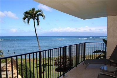 Watch the whales and sea turtles or the beautiful sunsets from the lanai
