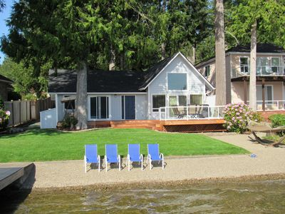 Photo for Beachfront cottage on picturesque Mason Lake