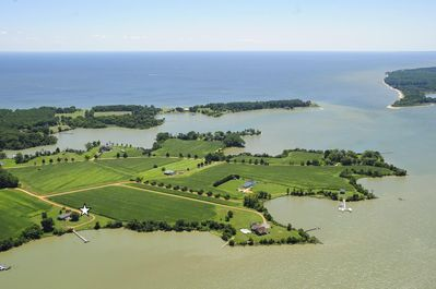 Air view of creek opening to the Chesapeake Bay