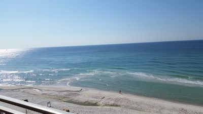 A view of the beach from our balcony