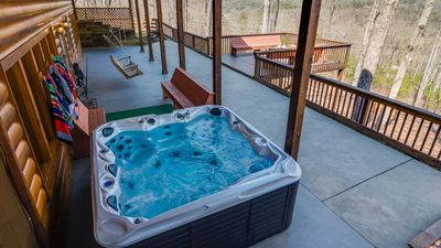 7 person hot tub with LED color changing lights and a panoramic mountain view!