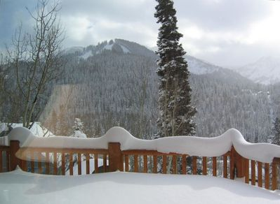 Solitude and Silver Fork View from Deck after snowfall. South View