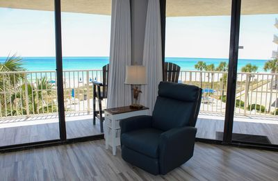 Photo for E301 Breathtaking 3rd floor 3BR/3BA condo with 65ft of floor to ceiling glass walls.  All rooms are gulf-front with wraparound balcony