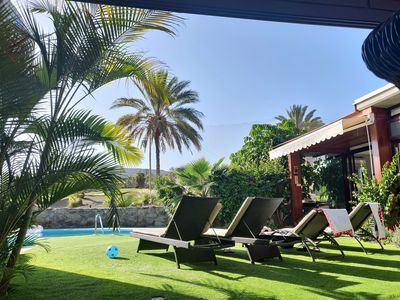Villa Carmela has a private garden and heated pool with amazing views.