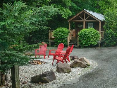 Photo for Cozy cabin with a creekside deck and hot tub! Only 3 miles from Downtown!