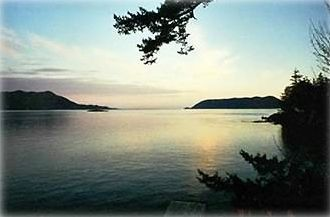 Sunset View from Our Own Private Beach  Orcas Island Vacation Home