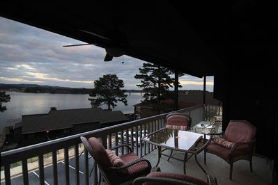 Lake view from living room deck.