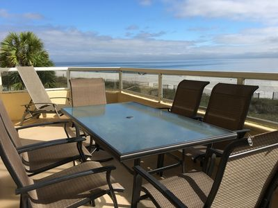 Patio table with seating for 6 and two lounge chairs make outdoor living great!