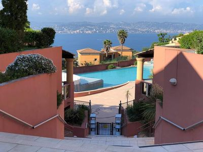 Photo for Superb sea view on the French Riviera with pool / air conditioning parking