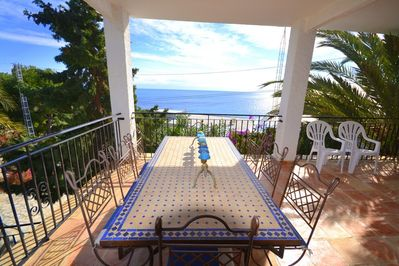 Large terrace and great  view, overlooking the Meditarranean sea !!