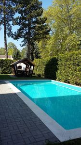 Photo for Apartment with central location pool, sauna, wifi, barbecue, air conditioning-100m from Lake Balaton