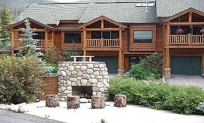 Slopeside Retreat Exterior View and Outdoor Fireplace