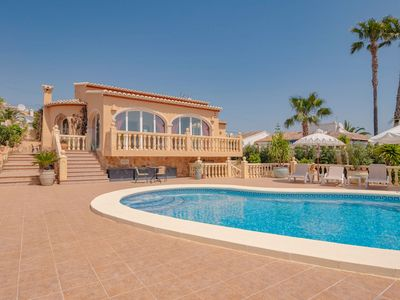 Photo for Villa with very spacious terrace, beautiful view of the mountains & private pool