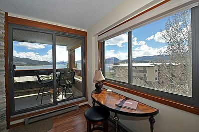 Lake Dillon and mountain view- living room/balcony