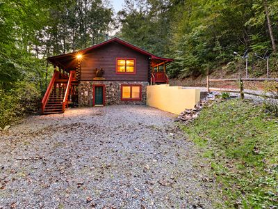 Photo for Mountain log cabin w/ hot tub, fireplace & firepit - dog-friendly!