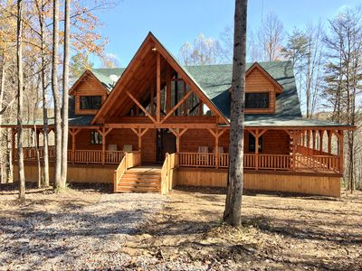Photo for Rose Ridge -New 8BR/5.5BA Luxury Log Cabin on 25 Acres - Walk to Old Man's Cave!