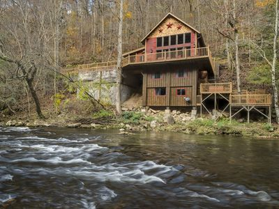 Photo for On the RIVER. Beautiful 2br/ 2 1/2 ba w/ hot tub Need 4wheel drive to get there