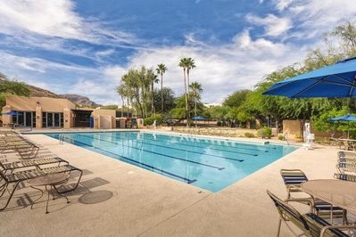 Property comes with a pool pass to Olympic size pool and hot tub