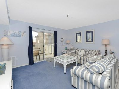Photo for Ocean block condo- Sleeps six, 90 steps from the beach. Indoor pool, game room.
