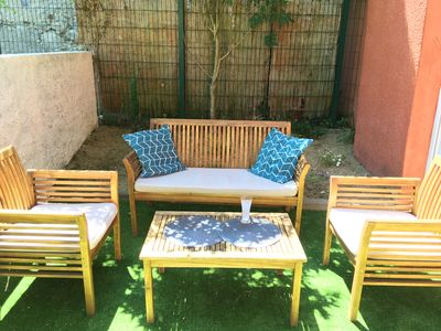 Photo for 80m² air-conditioned triplex with private courtyard 5 mins walk from the thermal baths & town center