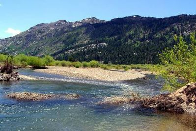 Known for its fly fishing the Walker River Parallels the 395 about about  300 yards east of the front of the motel.