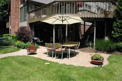Guest patio with Weber grill and fire pit