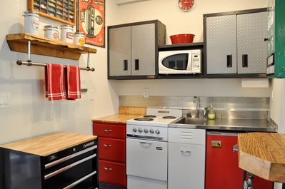 """Well stocked vintage mini kitchen. We have all the """"tools"""" you will need."""