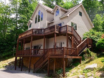 Photo for Hilltop Happy Hour- 4 bedroom lake access home in central Deep Creek Lake